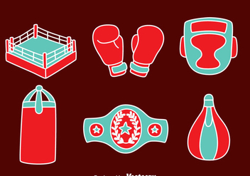 Hand Drawn Boxing Element Vectors - Free vector #423507