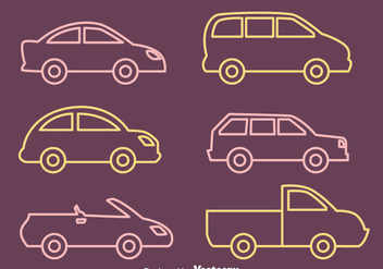 Car Outline Vectors Collection - Free vector #423537