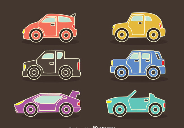 Colorful Cars Collection Vectors - vector #423547 gratis