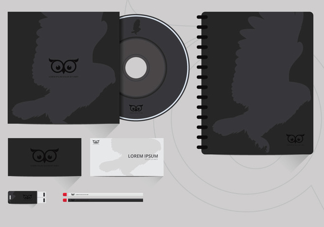 Corporate Identity Template With Owl Logo - бесплатный vector #423597