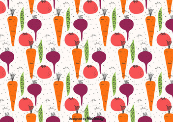 Doodle Vegetables Pattern - vector #423657 gratis
