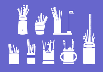 Silhouette Pen Holder Free Vector - vector gratuit #423667