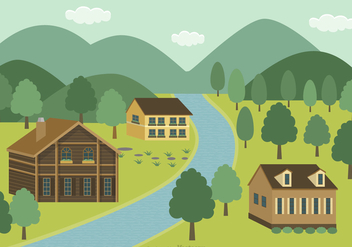 Mountain Village Vector Background - vector gratuit #423887