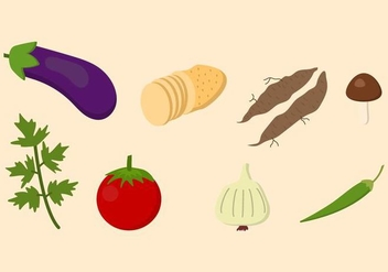 Flat Vegetable Vectors - vector gratuit #423897