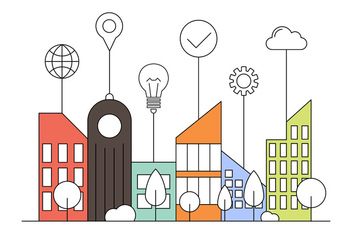 Free Smart City Flat Illustration - бесплатный vector #423967