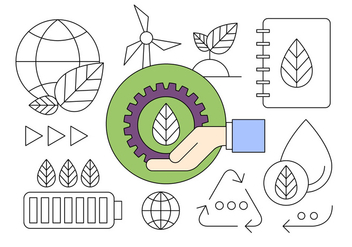 New Energy and Ecological Recycling Thin Line Designed Icons - Free vector #424027