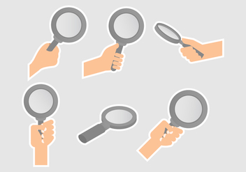 Lupa Magnifying Glass Vectors With Hands - vector gratuit #424107