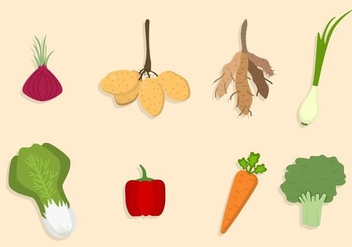 Flat Vegetable Vectors - vector gratuit #424217