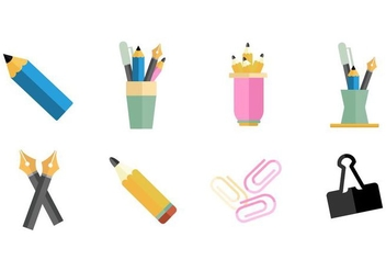Pen Holder and Office Supplies Icons Vector - vector gratuit #424277