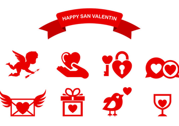 Icons Of Happy San Valentin - vector #424377 gratis
