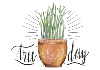 Cute Illustration Plant Watercolor To National Tree Day - Free vector #424397