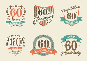 Vintage Retro Anniversary Label Vector Pack - бесплатный vector #424587