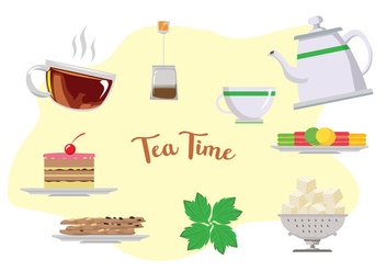 High Tea Time Vectors - бесплатный vector #424597