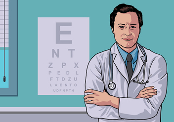 Eye Doctor Standing in Clinic Vector - бесплатный vector #424787