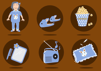 Slumber Party Icons Vector - Free vector #424847
