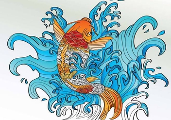 Koi Coloring Tattoo Style Vector - Free vector #424977