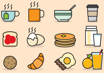 Cute Breakfast Icons - Free vector #424987
