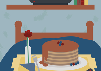 Pancake Breakfast in Bed Vector - Free vector #425007