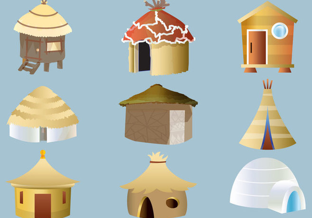 Set of Cabana and Shack Vectors - vector gratuit #425047