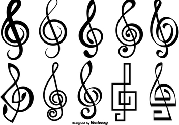 Violin Key Vector Icons - vector #425087 gratis