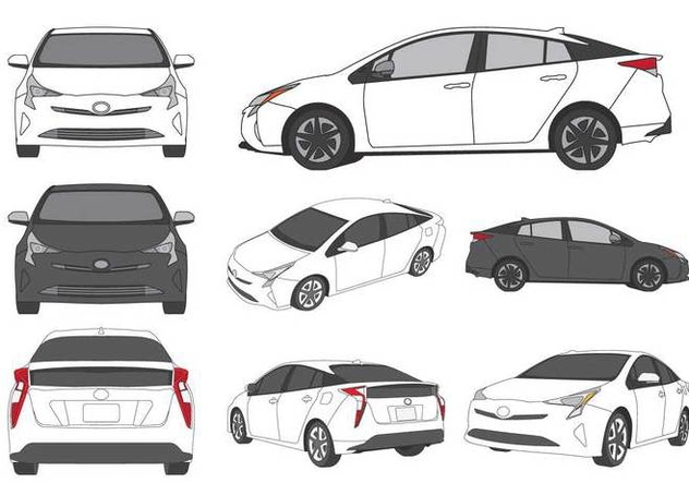 Prius Car Illustration - Free vector #425107