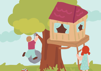 Boy and Girl with their Treehouse Vector - Free vector #425157