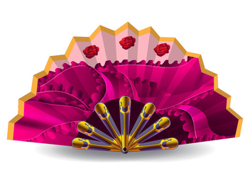 Pink Spanish Fan Vector - vector gratuit #425277