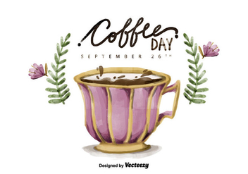 Free National Coffee Day Watercolor Vector - vector gratuit #425377