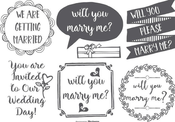 Cute Marry Me Hand Drawn Lables - vector #425397 gratis