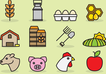 Cute Agriculture Icons - Free vector #425407