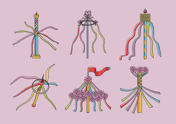 Colorful Maypole Folk Festival Vector - Free vector #425687