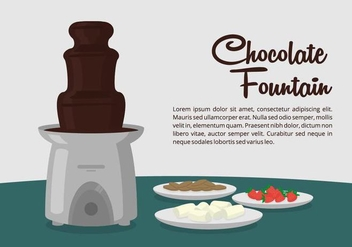 Chocolate Fountain Dessert Table - vector #425787 gratis