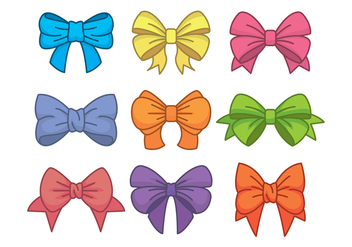 Hair Ribbon Icons Set - Free vector #425827