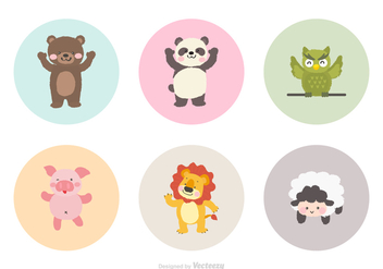 Cute Cartoon Animals Vector - vector gratuit #425897