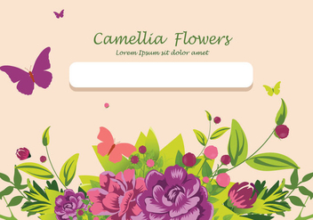 Camellia flowers invitation card design illustration - Free vector #426107