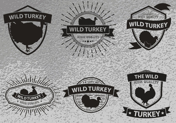 Wild turkey silhouette logo label - Free vector #426117