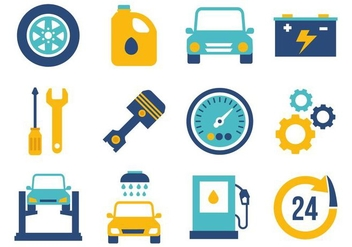 Free Flat Car Maintenance Icons Vector - vector gratuit #426127