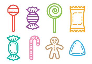Outlined Candy Icons Vector - vector #426157 gratis