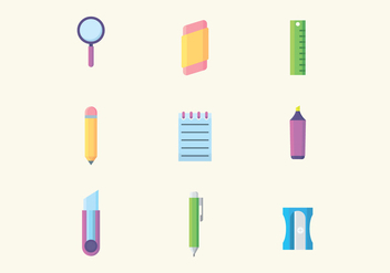 Colorful Stationery Icons - vector #426287 gratis