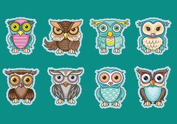 Set of Cute Owls or Buhos Sticker Vectors - vector #426317 gratis