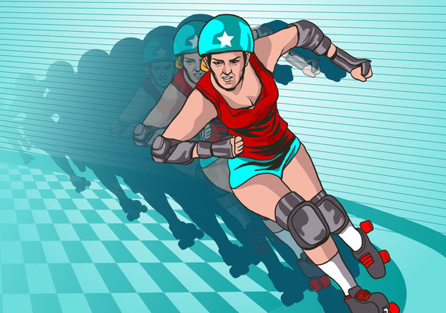 Speeding Roller Derby Girl Vector - Free vector #426357