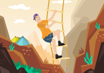 Rope Ladder Adventure Mountain Climbing Illustration - Free vector #426367