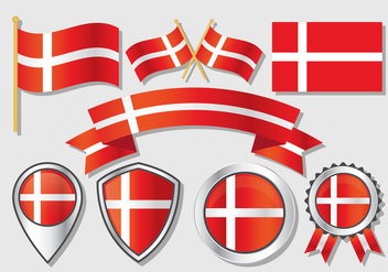 Danish Flag Vector Collection - vector gratuit #426437