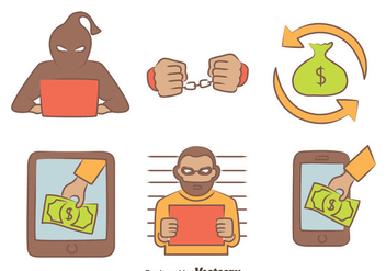 Hand Drawn Cyber Theft Vectors - Free vector #426617