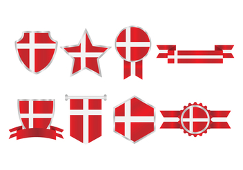 Free Danish Flag Badges Collection - Kostenloses vector #426647