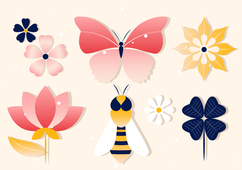 Free Spring Vector Insects - Kostenloses vector #426677