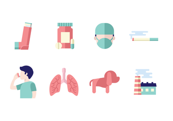 Medical Asthma Icon Set - Free vector #426827