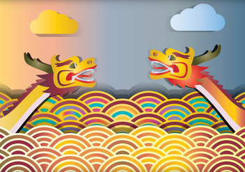 Dragon Boat Racing Illustration - vector gratuit #426917