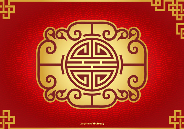 Beautiful Chinese Decorative Background - vector gratuit #427097
