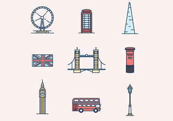 England Theme Icons - vector #427317 gratis